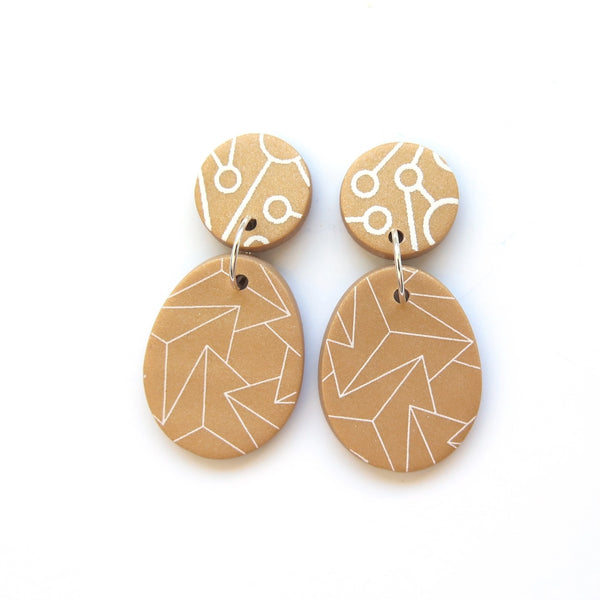 Gold Drop Statement Earrings - zig zag Memphis oval