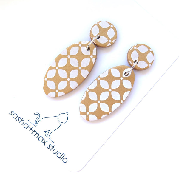 Gold Drop Statement Earrings - Leaf oval