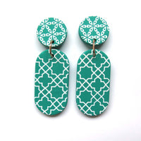 Fresh Green + white Drop Statement Earrings -  oval