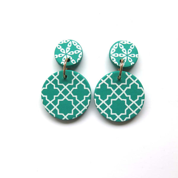 Festive Green + white drop Earrings - cross mid disc
