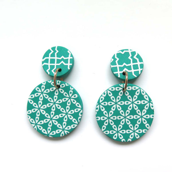 Festive Green + white drop Earrings - flower mid disc