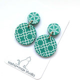 Fresh Green + white drop Earrings - cross large