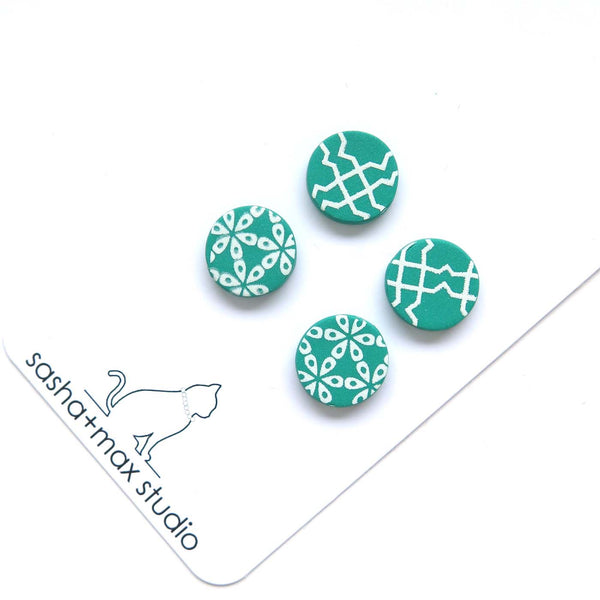 Festive Green + white stud earrings double pack