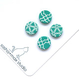 Fresh Green + white stud earrings double pack