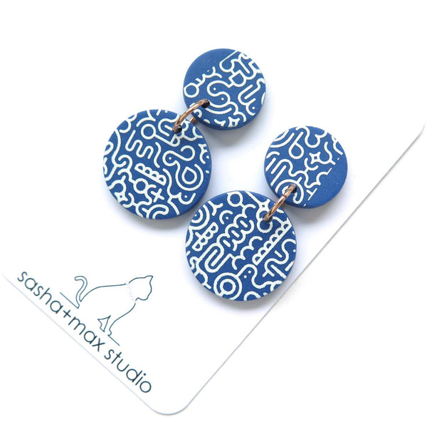 Memphis Blues Earrings - round disc part pattern