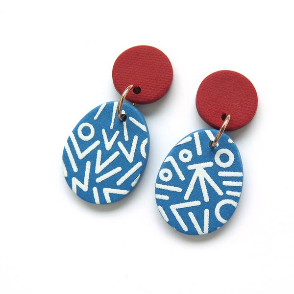 Mega Memphis Blues Earrings - Egg