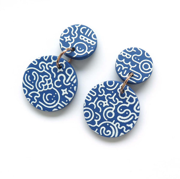 Memphis Blues Earrings - round disc full pattern