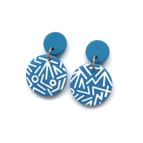 Mega Memphis Blues Earrings - Large disc