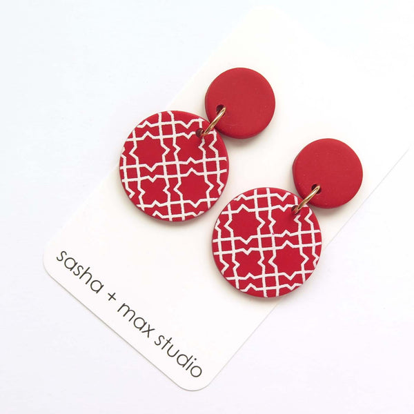 Morocco red and white disc statement drop earrings