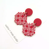Morocco red and white cross statement drop earrings