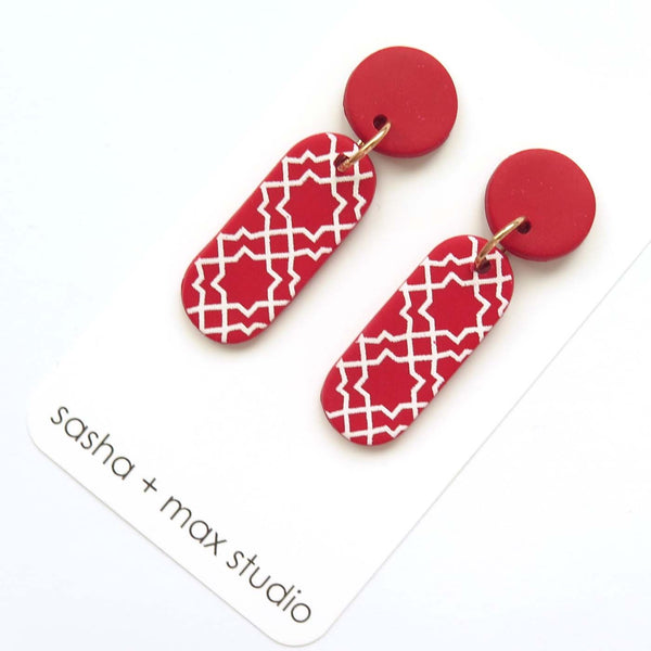 Morocco red and white long drop statement drop earrings