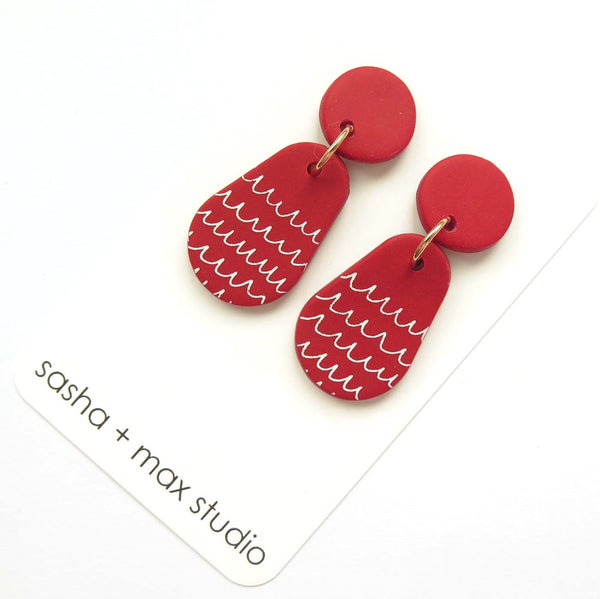 Scribble red and white pear statement drop earrings