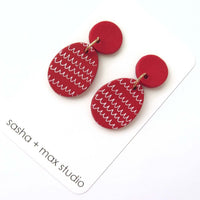 Scribble red and white egg statement drop earrings