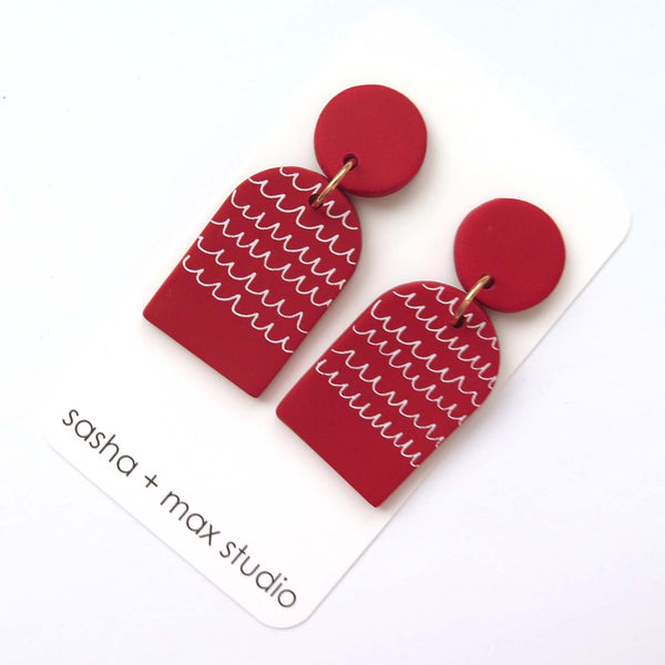 Scribble red and white arch statement drop earrings