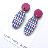 Pink Ticking Stripe Oval polymer clay earrings
