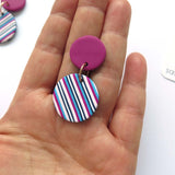 Pink Ticking Stripe Round polymer clay earrings