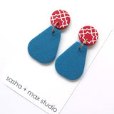 Colour Block Drop Earrings, Red and Cyan