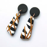 Gold 1 Abstract black and white statement drop earrings