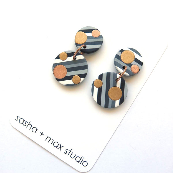 Grey Stripe with metallic dots round statement earrings all stripe