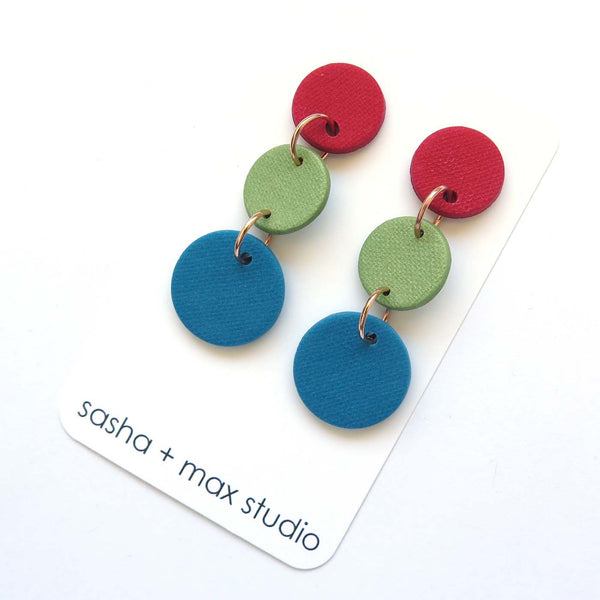 Colour Block Drop Earrings, Red Blue Green Type 2