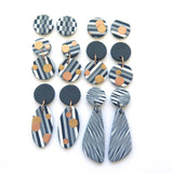 Grey Stripe with metallic dots large statement earrings