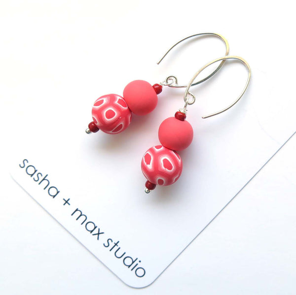 Swirl and coral beaded drop earrings