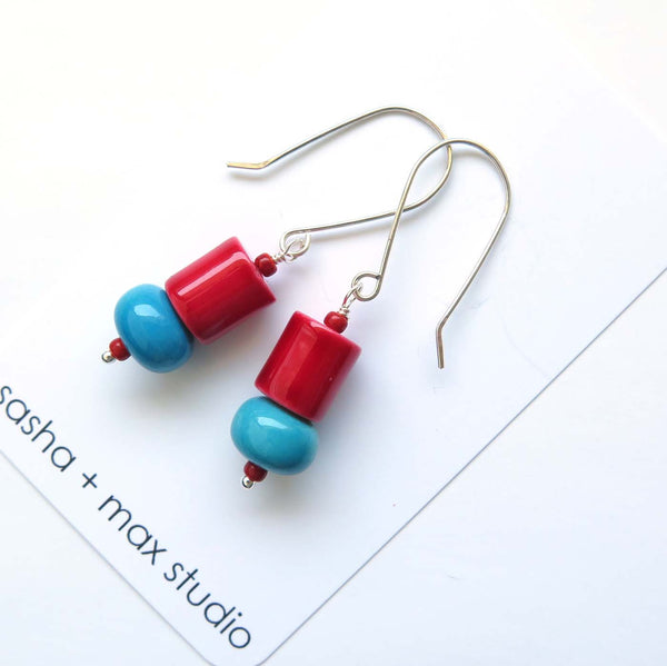 Red and blue glass beaded drop earrings