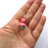 Swirl blue and coral beaded drop earrings