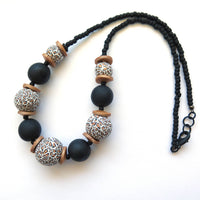 Leopard print polymer clay statement necklace