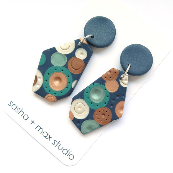 Metallic Dots Wedge Statement earrings