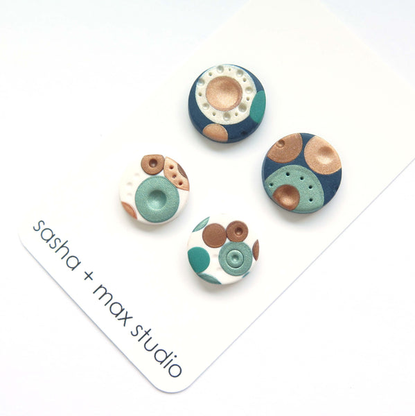 Metallic Dots Stud earrings 2 pairs