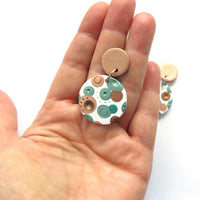 Metallic Dots Large White Disc Statement earrings