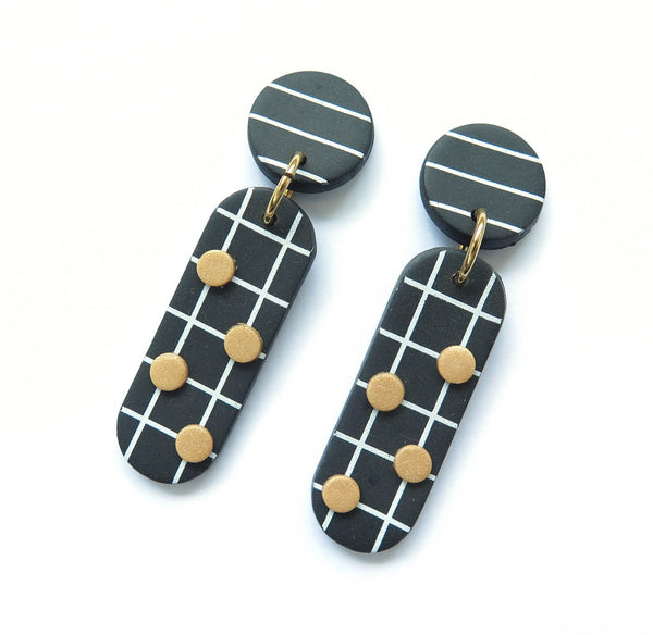 Noughts Black and White drop Statement Earrings 4 dots and stripe