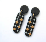 Noughts Black and White drop Statement Earrings 4 dots and black top