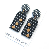 Noughts Black and White Arch drop Statement Earrings