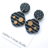 Noughts Black and White Square drop Statement Earrings