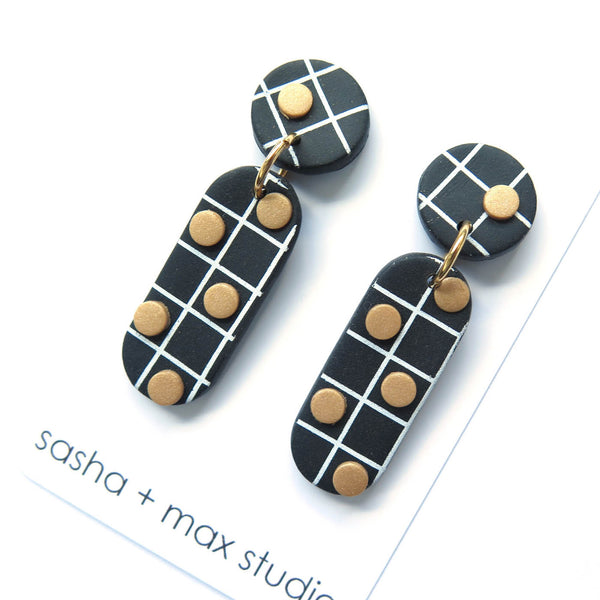 Noughts Black and White drop Statement Earrings 4 dots and top grid