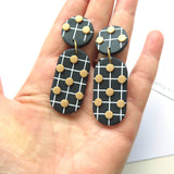 Noughts Black and White drop Statement Earrings Large 6 dots