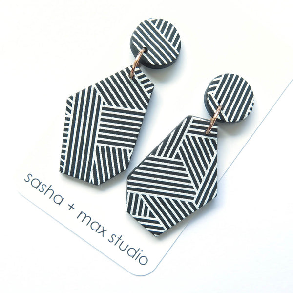 Diagonal Stripe Statement Earrings -Wedge