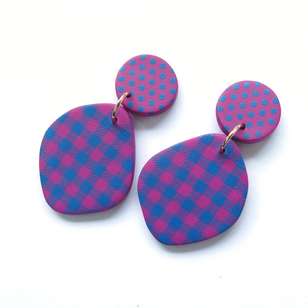 Pink and Blue Polka Dot and Gingham Freeform  statement earrings