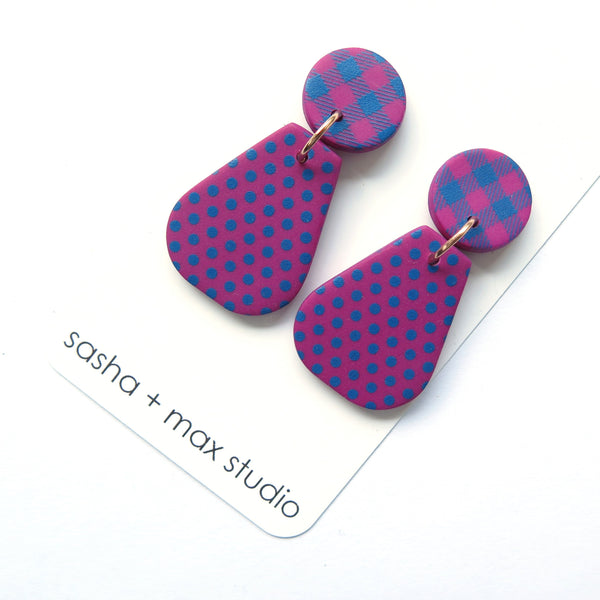 Pink and Blue Polka Dot and Gingham Vase statement earrings