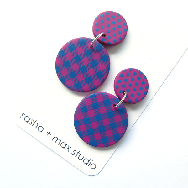 Pink and Blue Gingham and Polka Dot Mid Disc statement earrings