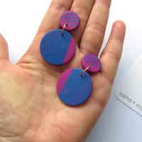Pink and Blue Polka Dot large round statement earrings