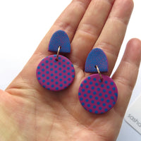 Pink and Blue Polka Dot mid round statement earrings