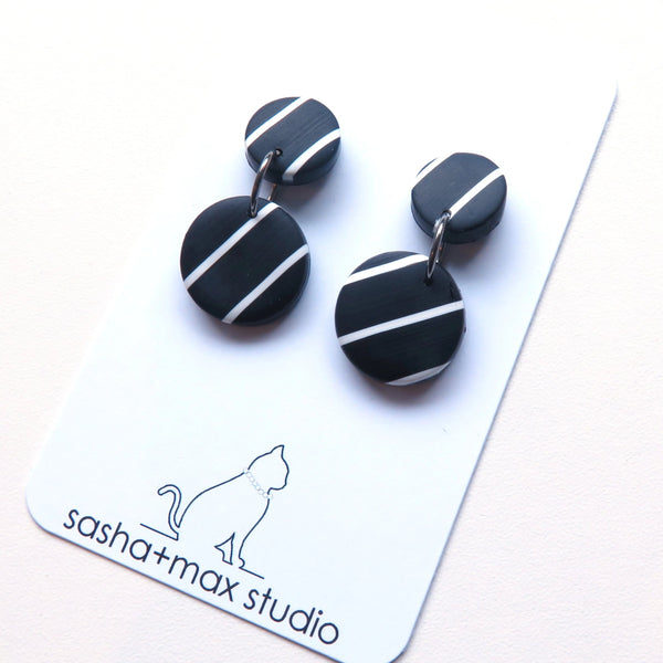 Super Stripe black and white earrings