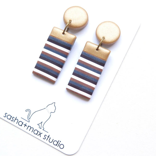 Gold and stripe statement earrings