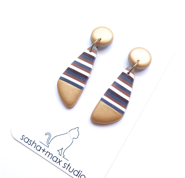 Gold and stripe polymer clay earrings