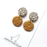 Leopard print and gold drop circle earrings