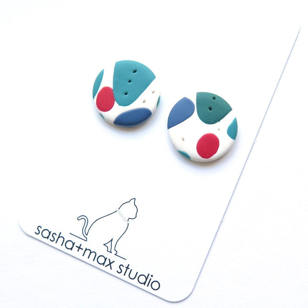 Mid century modern stud button polymer clay earrings