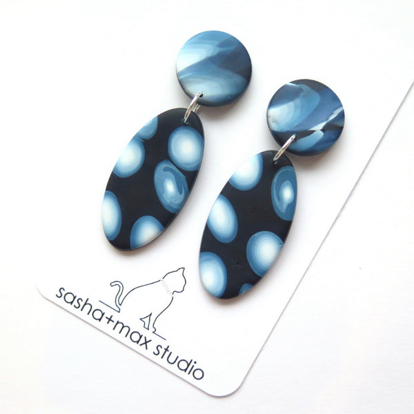 Other world blue galactic dot oval drop earrings